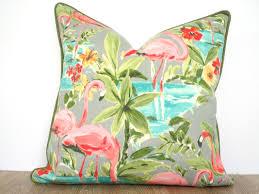 Decorative Outdoor Lumbar Pillows by Pink Flamingo Pillow Cover 18x18 Tropical Decor Green Outdoor