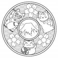 Color These Three Cute Cats On This Mandala Inspired By Japan Mount Fuji Cherry Blossom Flowers Waves