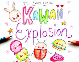 Kawaii Explosion Coloring Book Kit