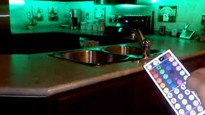 led rgb 5meter strips with 44key remote installed kitchen