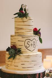Log Tree Cake Tier Rustic Magical Outdoorsy Cosy Barn Wedding