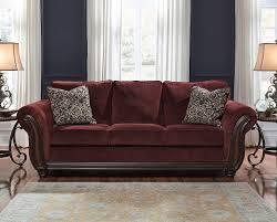 Claremore Antique Sofa And Loveseat by Chesterbrook Burgundy Sofa Signature Design Furniture Cart