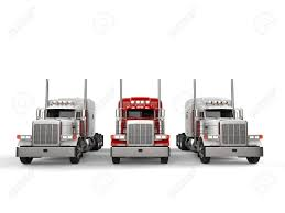100 18 Wheeler Trucks Red Truck In Between Two White Stock Photo