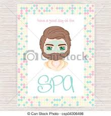 Vector Illustration Of Spa Party Invitation With Colorful Mosaic Frame Men Cosmetic Facial Mask
