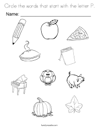 Circle The Words That Start With Letter P Coloring Page
