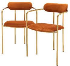 casa padrino luxus esszimmerstühle mit armlehnen orange gold 53 x 50 x h 74 cm küchenstühle mit edlem samtstoff esszimmer set esszimmer möbel