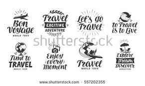 Travel Adventure Set Icons Handwritten Lettering Label Vector Illustration