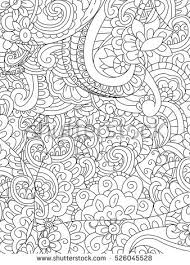 Pattern Flower Coloring Book For Adults Vector Illustration Anti Stress Adult