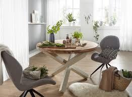 wohnling design esszimmertisch boha rund ø 120 cm x 75 cm akazie massiv holz landhaus esstisch 4 personen küchentisch tisch für esszimmer braun