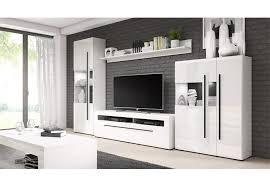 wohnwand weiß hochglanz wohnzimmer set 4 teilig anbauwand