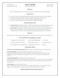 Photography Internship Resume Sample