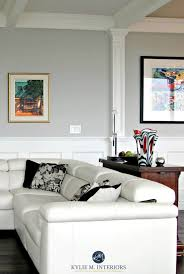 Benjamin Moore Stonington Gray In A Contemporary Living Room With White Leather Couch Black Accents