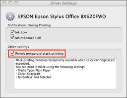To Do This Open ApplicationsEpson SoftwareEpson Printer Utility 4Driver Settings And Click Into The Check Box Beside Permit Temporary Black Printing