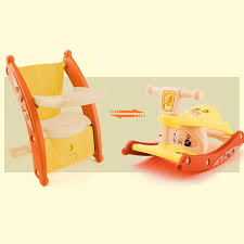 Rapesee Multifunction Child Kids Portable Rocking Horse And Baby Dining  Table Chair With Light And Music For Dual-use (Yellow)