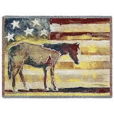 American Horse Red White And Blue Woven Blanket