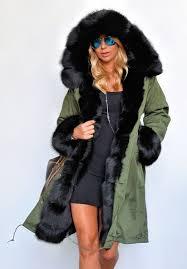 roiii women u0027s winter faux fur hooded plus size parka jacket coat