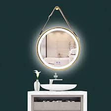 luvodi badspiegel badezimmerspiegel wandspiegel dimmbar led bleuchtung 50 x 50cm rund anti beschlag kosmetikspiegel mit band wasserdicht ip44
