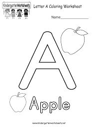 Kindergarten Letter A Coloring Worksheet Printable