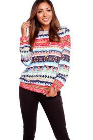 blue multi print long sleeve scoop neckline casual sweater
