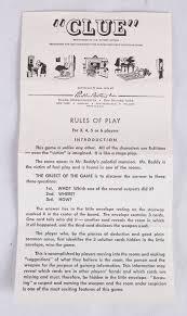Original Game Instructions For CLUE Vintage Parker