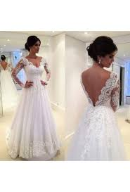 Long Sleeve V Neck Court Train Lace A Line Featuring Back Design Wedding Dress Awb0079