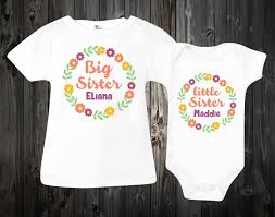 Big Sister Little Sister Shirts Baby Onesie Custom Onesies