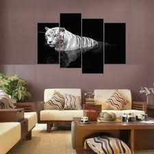 XQL ART 4 Panel 3D Black And White Tiger Group Print Painting No Frame