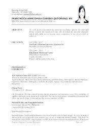 Dialysis Nurse Resume Of A Example For Nurses