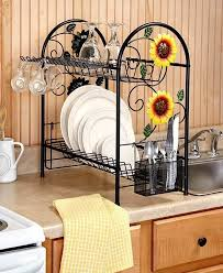 Dish Rack 2 Tier Metal Sunflower Rooster Apple Country Kitchen Decor Space Saver Unbranded