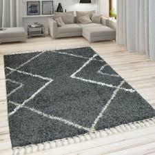 details zu teppich wohnzimmer grau anthrazit hochflor rauten design skandi look shaggy