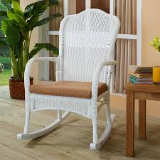 Coral Coast White Resin Wicker Rocking Chair With Khaki ... Resin Wicker Porch Rockers Easy Care Rocker Charleston Rocking Chair Camel Back Chairs Set Of Two White Summer Outdoor Belwood With Floral Cushions 3pc Cushion And End Table Faux Book Pocket Coral Coast With Khaki The Portside Plantation All Weather Tortuga