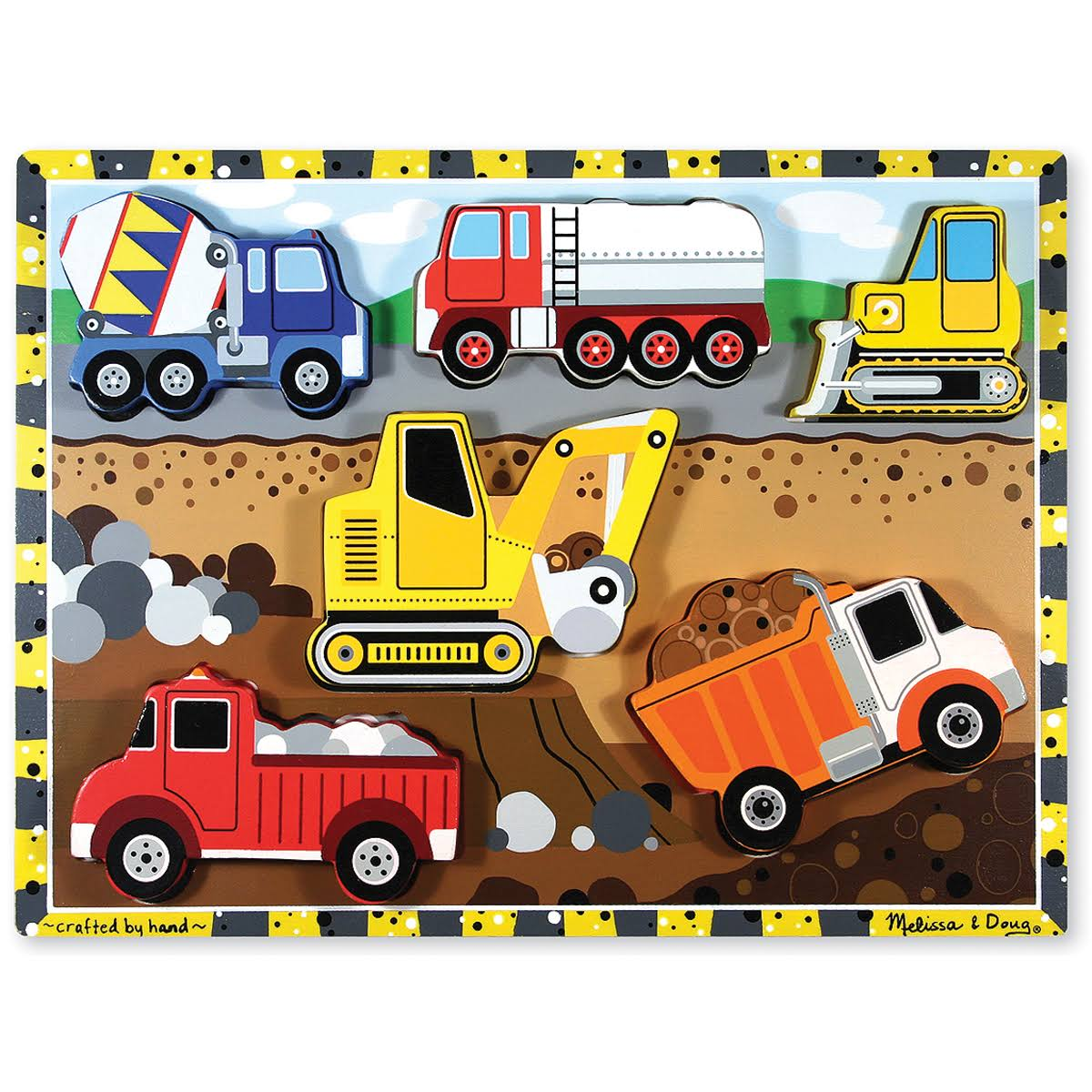 Melissa & Doug Construction Vehicles Wooden Chunky Puzzle - 6 Pieces