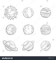Vector Cartoon Planets Education Space Illustration For Adult Antistress Coloring Page Set Of Isolated