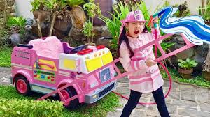100 Pink Fire Truck Toy Bugs Funny Rescue Mission YouTube
