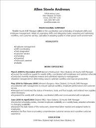Hourly Shift Manager Resume Template Best Design Tips Examples For Rh Idiomax Org Fast Food