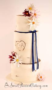 This Rustic Wedding Cake Features The Couples Initials And Hand Made Sugar Daisies