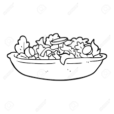 Freehand Drawn Black And White Cartoon Salad Royalty Free Cliparts
