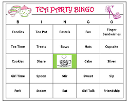 Tea Party Bingo Game 60 Cards Girl Time Theme Words Very Fun Print And Play