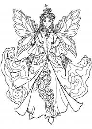 Coloring Page Fairy With Impressive Dress
