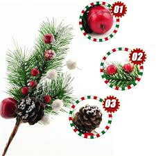 Christmas Branches Tree Ornament Pine Nuts Xmas Party Wedding Hanging Red Fruit Decoration