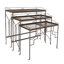 100 Small Wrought Iron Table And Chairs Achla Designs Rectangular Nesting S Set Of Three