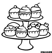 Birthday Cupcake Outline Cute birthday cupcake coloring