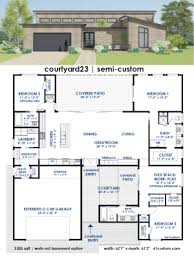 Modern Home Plans With Courtyard 3391