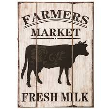 Farmers Market Wood Wall Decor With Cow