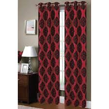 Burgundy Grommet Blackout Curtains by Window Elements Semi Opaque Suzani Flocked Faux Silk 84 In L