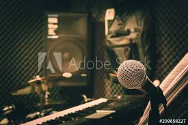 Close Up Instruments Music Background ConceptSingle Microphone With Keyboard And Drum Speaker In