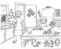 Kitchen Coloring Pages Free Printable With
