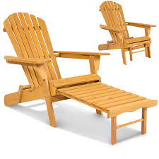 100 Retractable Patio Chairs BCP Outdoor Wood Adirondack Chair Foldable W Pull Out Ottoman
