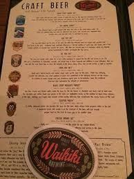 Craft Beer menu Picture of Waikiki Brewing pany Honolulu