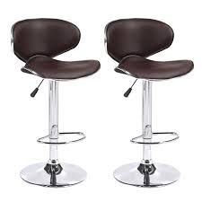 Details About Set Of 2 Adjustable Bar Stools Leather Counter Height Swivel  Dining Chair Brown